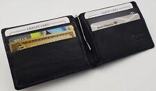 MENS Slim Money Clip, Center Spring, Credit Card Holder, Bifold Leather Wallet