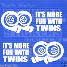 MORE FUN w/ TWINS TURBO DECAL 150x55mm X2 Captn Skullys Stickers Online MPN 1281