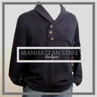 Mens Banana Republic Navy Blue Jersey Collar Sweatshirt Size L