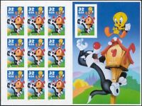 3205, 32¢ Sylvester and Tweety Sheet With 10th Stamp Imperforate - Stuart Katz