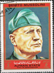 Ajman WW2 Italian National Fascist Party Leader Benito Mussolini stamp 1970