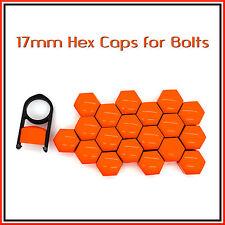 17mm HEX TAPPI PER BULLONI DADI AUTO copre RUOTE IN LEGA TUNING Arancio brillante 20 PC