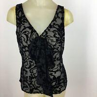 Tapemeasure woman shirt size 10 black velvet pattern sleeveless