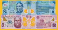 Mexico Set 20 & 50 Pesos 2016-2017 UNC Polymer Banknotes
