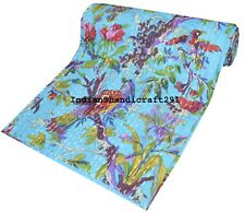 Bird Print Kantha Quilt Single Handmade Bedspread Throw Cotton Blanket Gudri