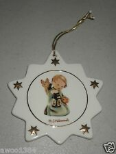 Hummel Christmas Star Porcelain Ornament by Ars Angel Cherub with Candle Lantern