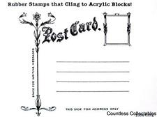 Antique Floral Postcard Post Card Template CLING River City Rubber Stamp