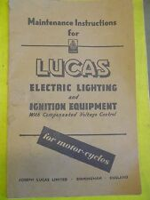 LUCAS Electric,Lighting,Ignition Equipment Motorcycle Manual