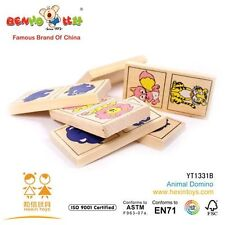 Wooden toys Animal Domino EDUCATIONAL learn colour logic puzzle alphabets kids
