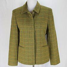 Ann Taylor Blazer Jacket Sz 8 Green Plaid Wool Blend Button Front Career Work