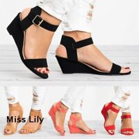 Womens Summer Sandals Party Shoes Size Ankle Strap Low Wedge Heel Beach Ladies
