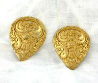 Vintage Etruscan Revival Huge GOLD Clip-on Earrings