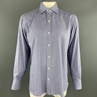 TOM FORD Size XL Navy Glenplaid Cotton Button Up Long Sleeve Shirt