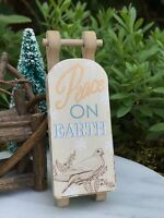 Miniature FAIRY GARDEN Ornament ~ Mini Paper/MDF CHRISTMAS Peace on Earth Sled