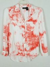 SARA STUDIO long sleeved Tie Tyed Comfortable Salmon and white Blouse size Small