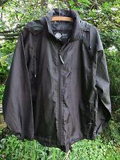 Men's Boy's GLOBAL BACKPACKER Showerproof Raincoat Kagool SMALL - Black