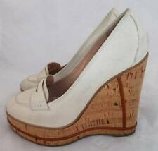 CHLOE ITALY SZ 40 IVORY CANVAS PLATFORM CORK WEDGES/SHOES/LOAFERS/PUMPS