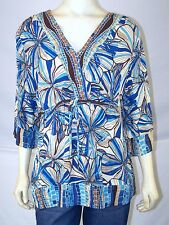 Jaclyn Smith Blue Brown Multi 3/4 Sleeve Semi Sheer Top Womens Size Large 12 14