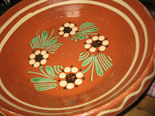ANTIQUE FRENCH GLAZED DISH - Redware - Mochaware Pottery - Alsace - c1920