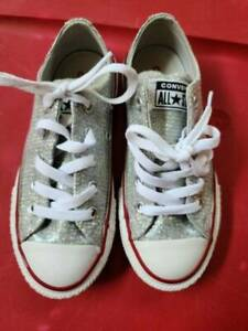Worn Once Silver Sparkle Glitter Pink Trim CONVERSE Low Tops SZ 11
