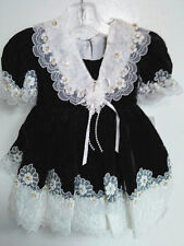 Vtg-80s-Baby Girls-Chic-Christmas-Black Velvet Lace Sequins Ruffle-Dress-12-18 m