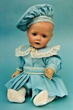 "17""ANTIQUE GERMAN HILDA BOY TODDLER/BABY DOLL ROMPER SUIT&HAT/TAM PATTERN FRENCH"