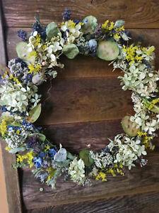 Sommer Kranz hell Shabby Natur Trockenblumen Türkranz Blüten Trocken Tischdeko