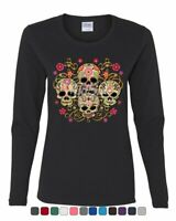 4 Cute Sugar Skulls Women's Long Sleeve Tee Calaveras Dia de los Muertos Mexico