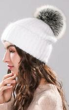 Rich Angora Wool Real Fox Fur Pom Pom Beanie Hat