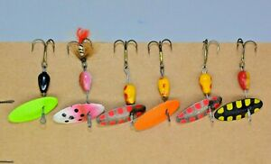 Six Older Panther Martin Size 2 Spinner Fishing Lures, Made in Italy