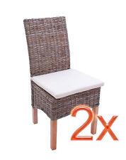 Lot de 2 chaises M44 avec coussins, rotin kubu, 47x52x97cm