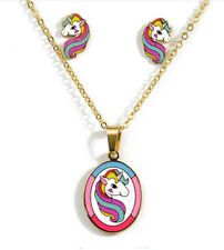 HORSE & WESTERN GIFTS ACCESSORIES GIRLS KIDS UNICORN NECKLACE & EARRINGS SET c