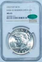 1923 NGC MS63 CAC VAM-1D Top 50 Whisker Cheek LDS Peace Silver Dollar