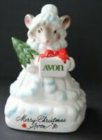 Vintage Avon Precious Moments Collection Figurine Mouse Merry Christmas 1980
