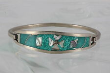 ALPACA TAXCO MEXICO GREEN CHIPS & MOTHER OF PEARL STONES  BRACELET SIGNED 8876