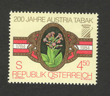 AUSTRIA-MNH STAMP-BICENTENARY OF TOBACCO MONOPOLY-FLOWERS-1984.