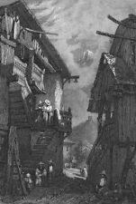 LONDON. Swiss Cottage, Lavey. Prout 1830 old antique vintage print picture