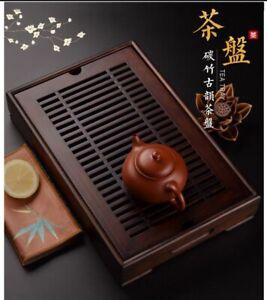 Bamboo Gongfu Tea Tray Dark Wooden Color 2000ml Capacity