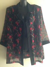 Vicsin Ladies Size 16 Sheer Black Jacket, 3/4 Sleeve, Over Shirt BNWT
