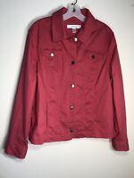 CROFT & BARROW Women's XL Dark Coral  LS Button-Up Stretch Cotton Blend Jacket
