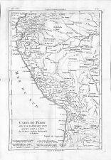 Antique maps, carte du pérou avec une partie des pays qui en sont l'est