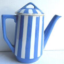 French blue and white ceramic Tea pot signed Sarreguemines model Fox Trott