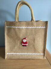 Christmas Gift Bag,With hand Embellished Felt Santa detail