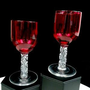 "ANTIQUE ENGLISH VICTORIAN CRANBERRY CLEAR STEM  2PC 5 3/8"" WINE GLASSES 1838"