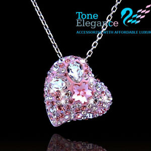 9ct 9k white gold GF pinky heart women necklace made with swarovski gift