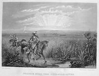 NATIVE AMERICAN INDIANS ON HORSES PRAIRIE WEST TEEPEES, 1855 Art Print Engraving