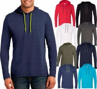 Mens Lightweight Hoodie T-Shirt Long Sleeve Hoody Tee Soft Cotton S-XL, 2XL, 3XL