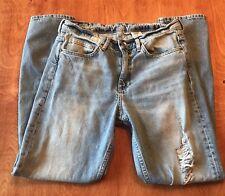 H&M Jeans Womens Boyfriend Relaxed Skinny Blue Destroyed Denim Size 27