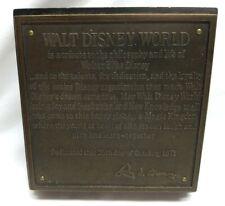 Rare Walt Disney World Dedication Plaque 1971 Main St. Usa Randy Noble Replica