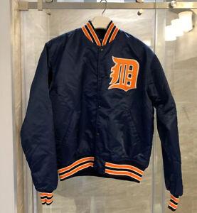 VINTAGE Starter Detroit Tigers Jacket Adult LARGE Blue Orange Satin Baseball 90